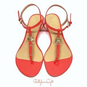 MICHAEL KORS NORA Thong Sandals Wedges MK LOGO 8